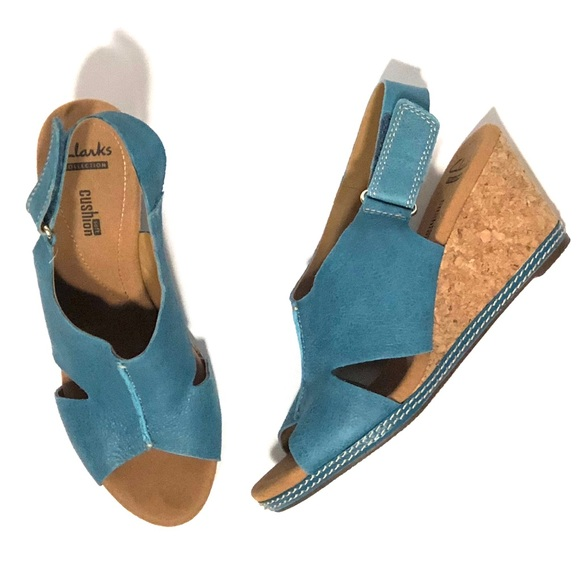 2dc6fe1eb Clarks Other - Teal   Aqua Clarks Nubuck Helio Float Wedge Sandal